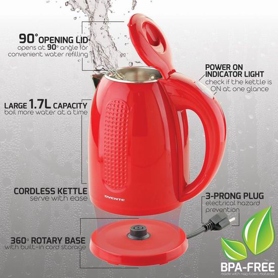 Ovente KD64R 1.7升 双层绝热防烫 304不锈钢 红色电热水壶 33.12加元!