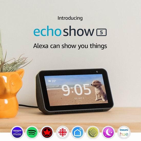 新品 Echo Show 5 智能显示器 79.99加元包邮!2色可选!