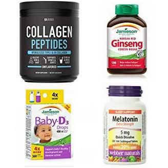 精选 Jamieson、Webber Naturals、Organika、Sports Research 等品牌保健品及能量补充剂5折起!会员专享!