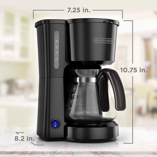 历史新低!BLACK+DECKER CM0700BZ 5杯量 紧凑型咖啡机4.3折 26.87加元!