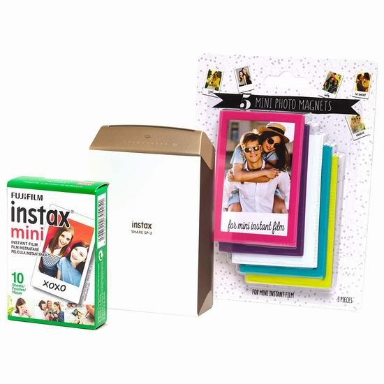 历史新低!Fujifilm 富士 Instax Share SP2 拍立得 手机打印机+相片+磁力相框超值装 99.99加元包邮!金银两色可选!