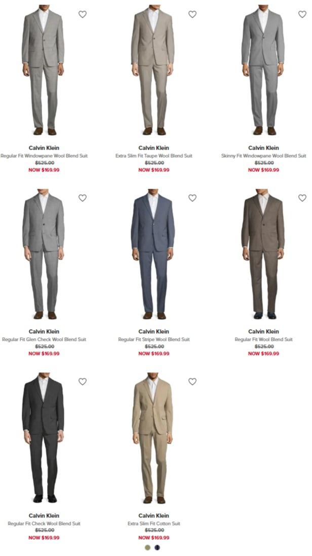 白菜价!精选 Calvin Klein 男士精品羊毛西服套装全部2.4折 135.99加元包邮!
