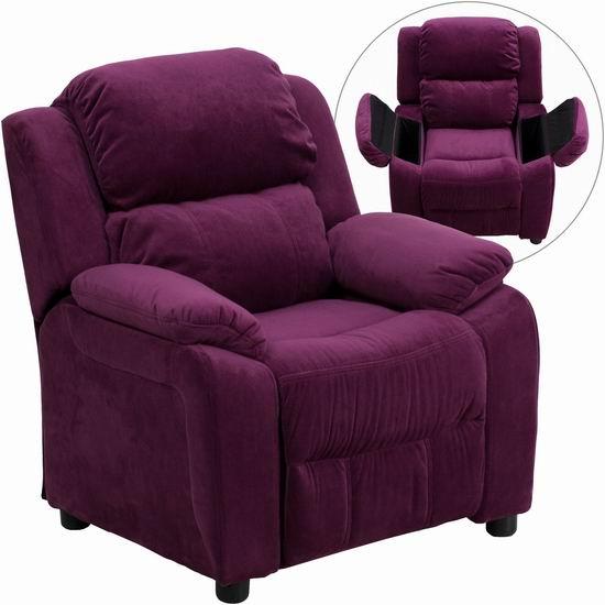 白菜价!历史新低!Flash Furniture BT-7985-KID-MIC-PUR-GG 豪华儿童单人沙发2.3折 80.97加元包邮!