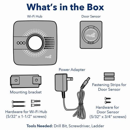 历史新低!Chamberlain MYQ-G0301C Wi-Fi 智能车库门控制器3.7折 48.98加元包邮!