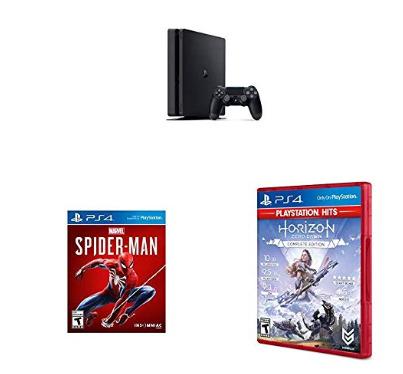 历史新低!PS4 Silm 游戏机+蜘蛛侠+地平线游戏套装 299.99加元包邮!
