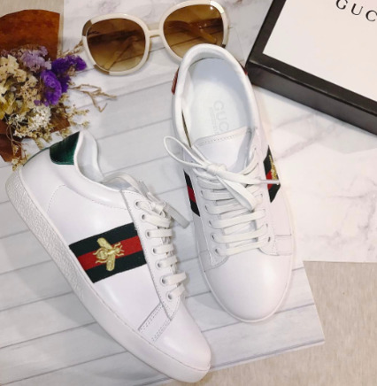 明星同款!Gucci New Ace女士经典蜜蜂小白鞋 595加元包邮!