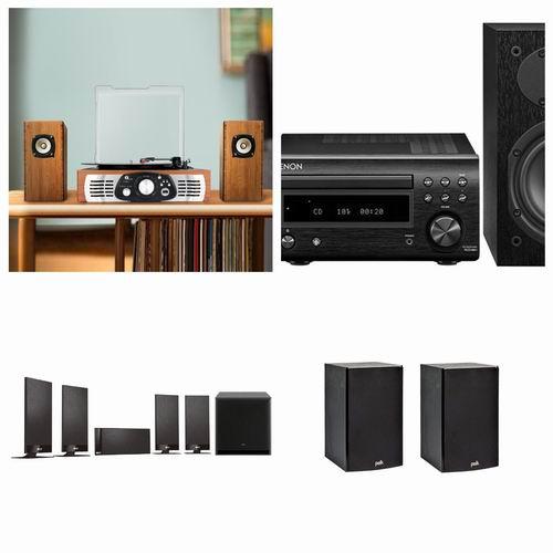 亚马逊音箱3.9折起优惠:1byone 复古黑胶唱片机 48.99加元、Polk Audio 家庭音箱套装87.99加元、KEF T100嵌入式音箱 799.99加元
