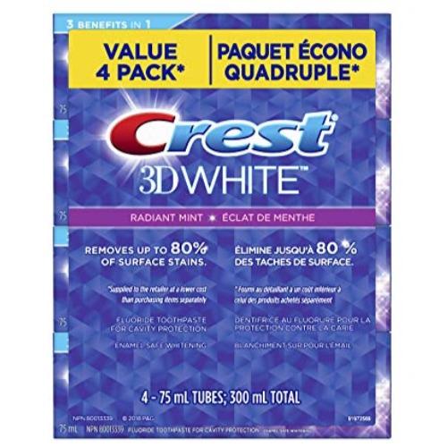 Crest 3d White Radiant 美白牙膏 4件套 5.56加元,原价 10.49加元