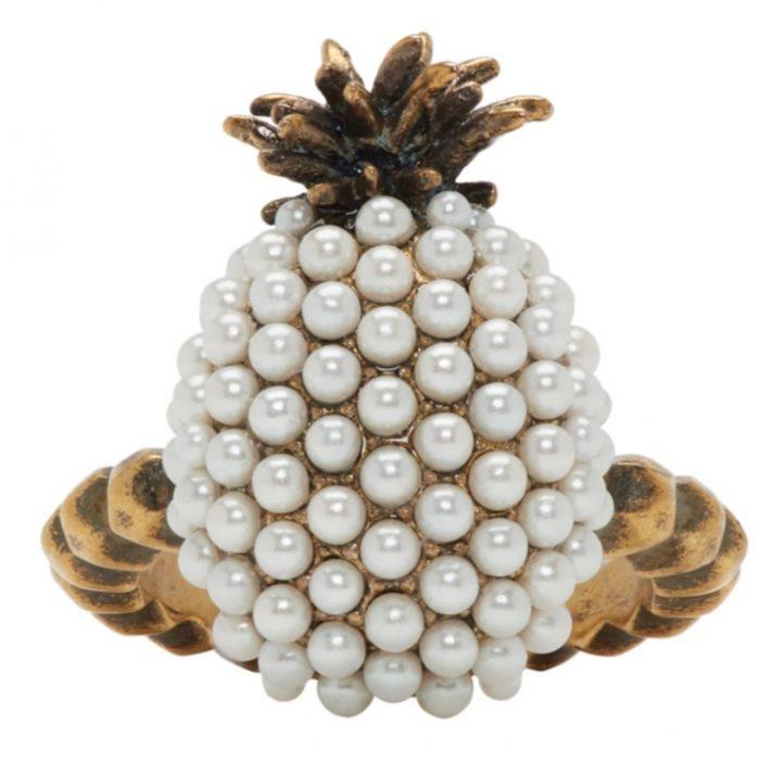 Gucci 复古金色小珍珠菠萝戒指 240加元,原价 480加元,包邮