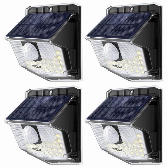 历史新低!Mpow 30 LED超亮 太阳能防水运动感应灯4件套 25.99加元清仓!