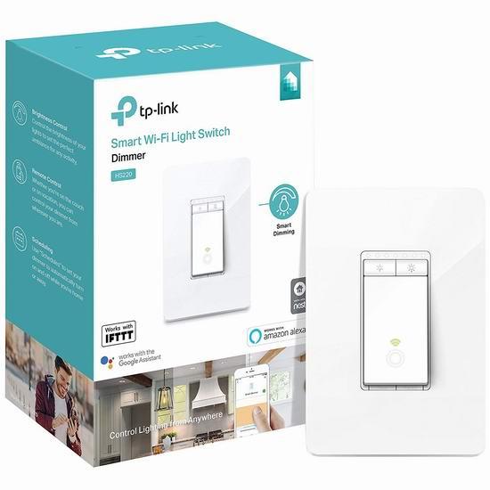历史新低!TP-Link Kasa HS220 WiFi无线 智能调光开关5.8折 34.98加元包邮!