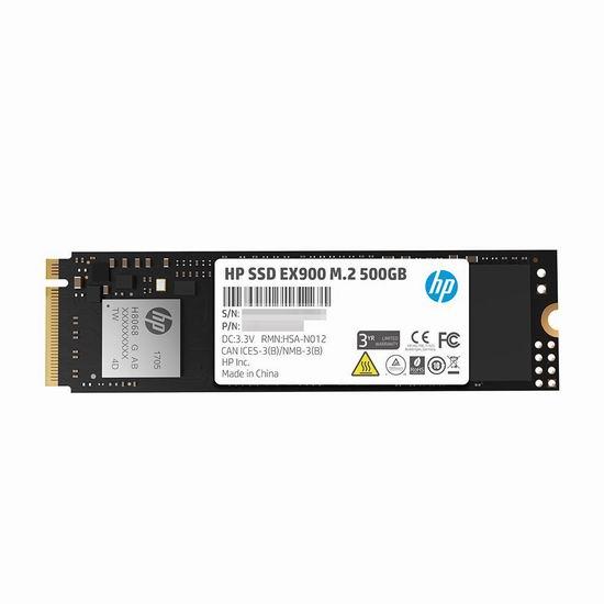 历史新低!HP 惠普 EX900 M.2 PCIe 3.0 X4 Nvme 3D TLC 500GB 固态硬盘5折 68.99加元包邮!