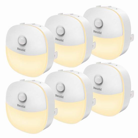 Newild 运动感应 暖白护眼LED夜灯6件套 33.99加元限量特卖!