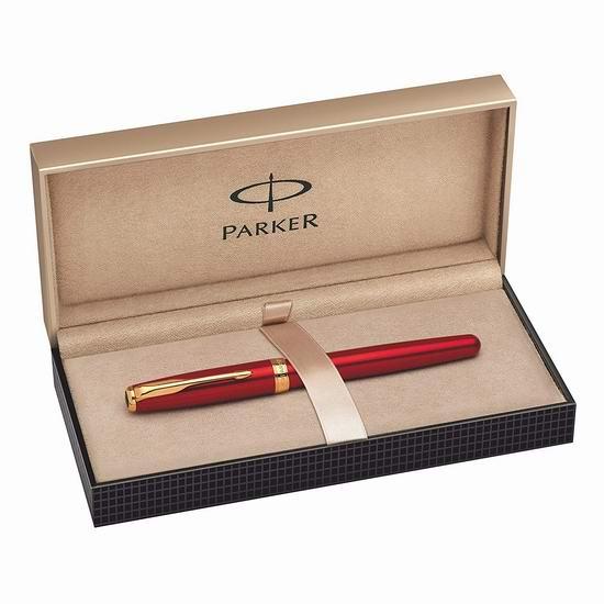 历史新低!Parker 派克 Sonnet Lacquer 宝石红金夹 23K镀金笔尖 墨水钢笔4.3折 68.31加元包邮!