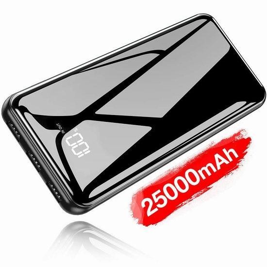 Gnceei 25000mAh 便携式快速充电移动电源/充电宝 33.99加元限量特卖并包邮!