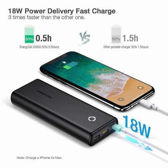 历史新低!Poweradd EnergyCell 18W PD 20000mAh便携式移动电源/充电宝 22.09加元清仓!免税!