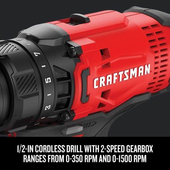 近史低价!CRAFTSMAN CMCK200C2 20V max 无绳电钻+冲击钻套装 5.1折 97.3加元包邮!