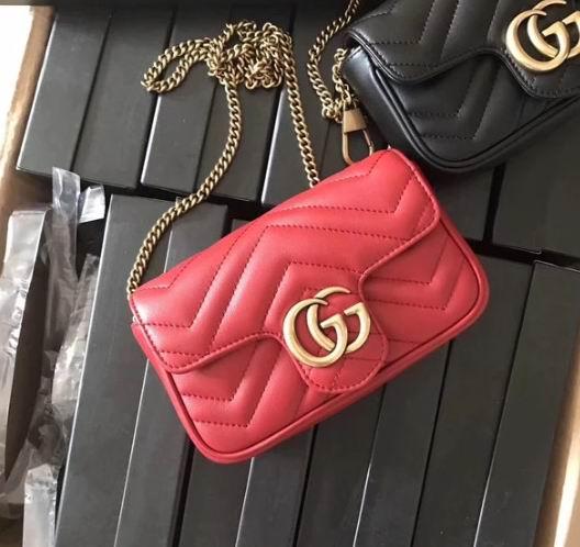 Gucci Marmont 迷你红色双G链条包 1700加元,官网价 2250加元,包邮