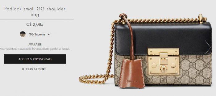 Gucci Padlock GG 小号链条包 1690加元,官网价 2028加元,包邮