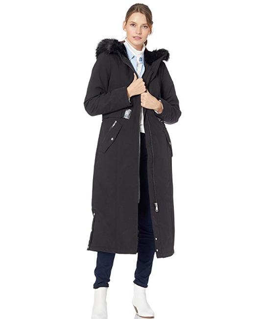 白菜价!Calvin Klein Maxi 长款束腰防寒服 72.49加元清仓特卖(S)+包邮