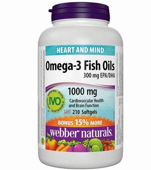 Webber Naturals Omega-3  鱼油 210粒 10.9加元,原价 14.97加元