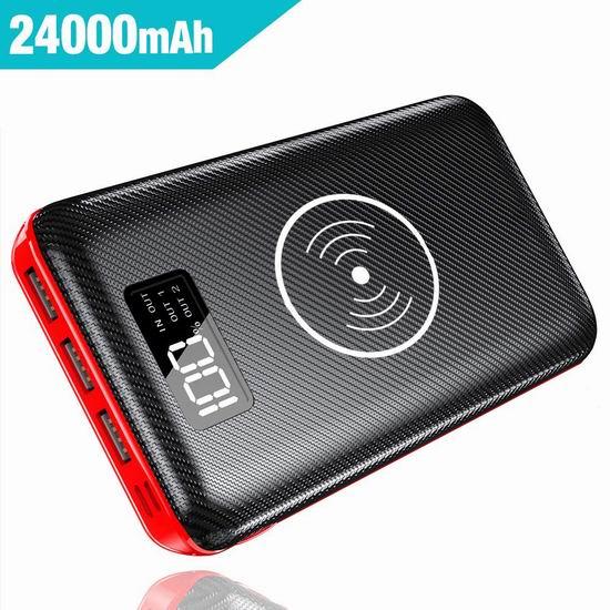 Gnceei 24000mAh 无线Qi快充 大容量充电宝 38.23加元限量特卖并包邮!