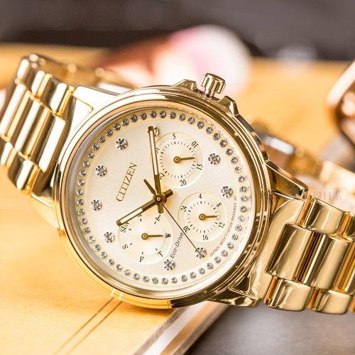 近史低价!Citizen 西铁城 FD2042-51P 施华洛世奇水晶 三眼计时 女式腕表/手表3.9折 194.4加元包邮!