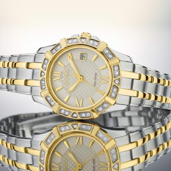 白菜速抢!Citizen 西铁城 EW2364-50A 女士光动能 28钻石腕表/手表2.1折 124.87加元包邮!