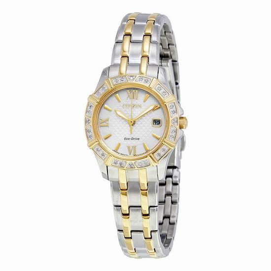 白菜补货!Citizen 西铁城 EW2364-50A 女士光动能 28钻石腕表/手表2.1折 123.61加元包邮!