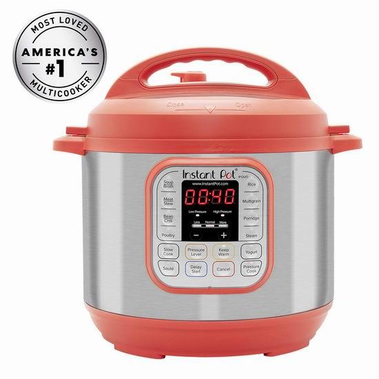 折扣升级!历史新低!Instant Pot IP-DUO60RED 红色版 6夸脱 7合一 多功能电压力锅 75.37加元包邮!