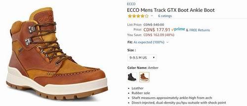 ECCO 爱步 Track 6 GTX 户外防水男靴 166.14加元(9-9.5码),原价 340加元,包邮
