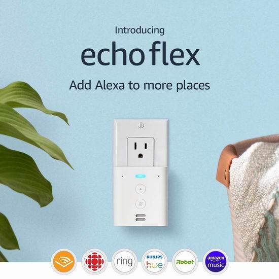 新品预售:亚马逊 Echo Flex 墙插式 迷你智能音箱 34.99加元!购2套立省15加元!