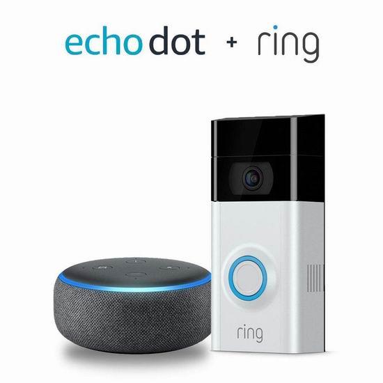 历史新低!Ring 1080P 第二代可视智能门铃+Echo Dot智能音箱超值装6.2折 199加元包邮!