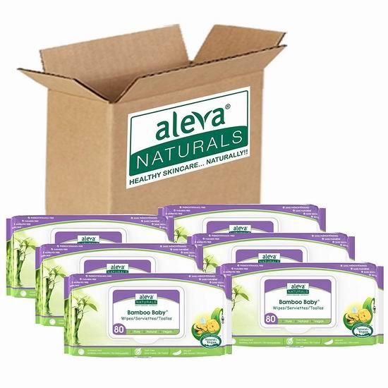 Aleva Naturals Bamboo 天然竹纤维 婴幼儿湿巾纸(80张x6包)5.5折 16.67加元包邮!