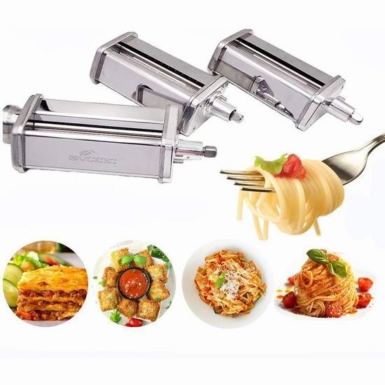 Gvode KitchenAid厨师机专用配件 擀面压面切面3件套 101.99加元限量特卖并包邮!