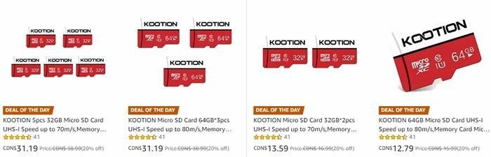 金盒头条:精选多款 KOOTION Micro SD 记忆卡超值装 12.79加元起!