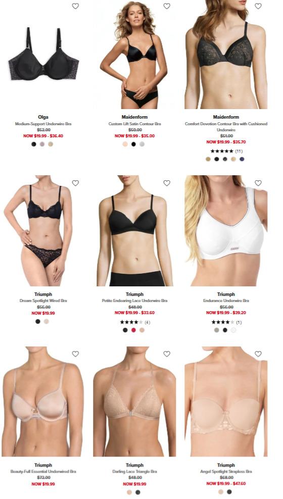 精选 Warner's、Triumph、Wonderbra、Calvin Klein等品牌内衣 4折 19.99加元起+满省10加元!