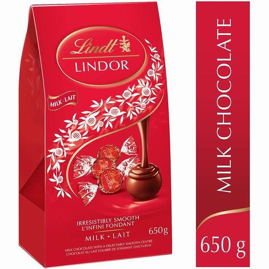 历史新低!Lindt 瑞士莲 Lindor 软心牛奶巧克力(52粒, 650克)14.99加元限量特卖!