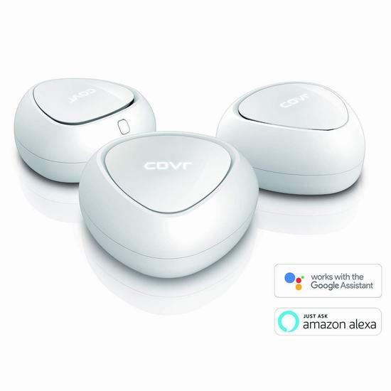 历史最低价!D-Link 友讯 COVR-C1213 无死角 智能多路由Wi-Fi系统3件套 199.98加元包邮!支持Alexa和谷歌语音助手!