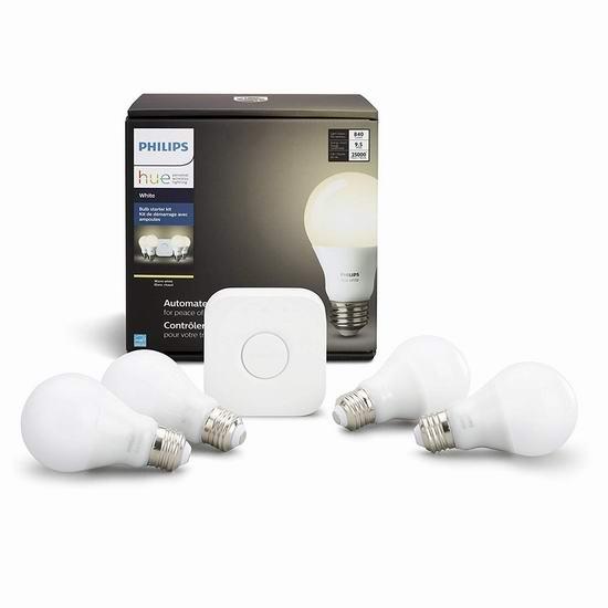 历史新低!Phillips 飞利浦 Hue White A19 智能灯泡家庭照明系统 89.99加元包邮!兼容Alexa及Google语音助手!