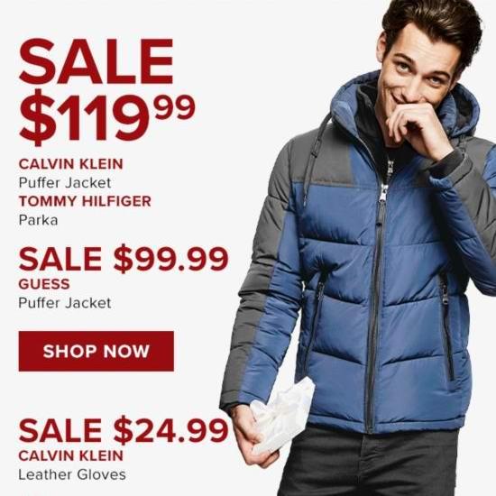今日闪购:精选 Tommy Hilfiger、Calvin Klein、GUESS 男式防寒服 99.99-119.99加元包邮!另有CK真皮手套24.99加元!