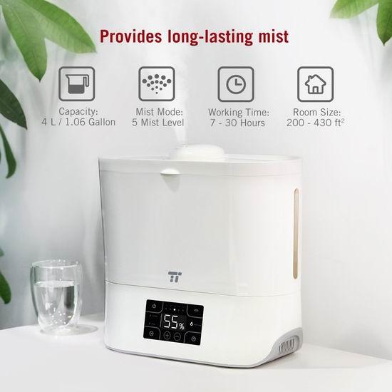 历史新低!TaoTronics 4升大容量超声波雾化加湿器5折 49.99加元包邮!