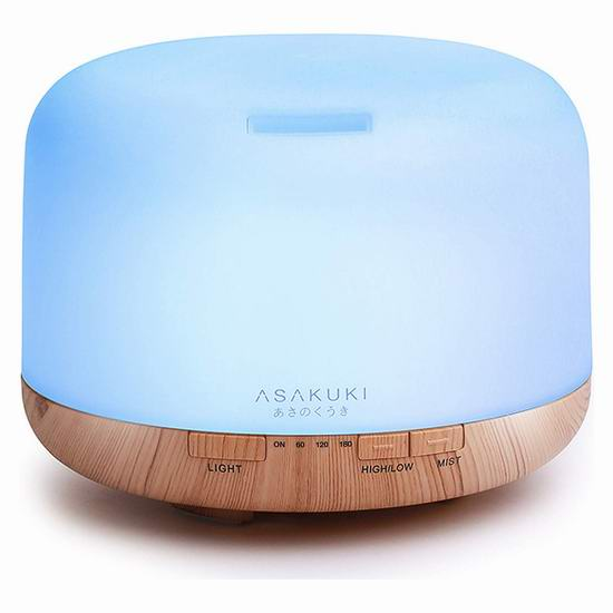 ASAKUKI 500ml 5合1超静音精油香薰加湿器 27.74加元!
