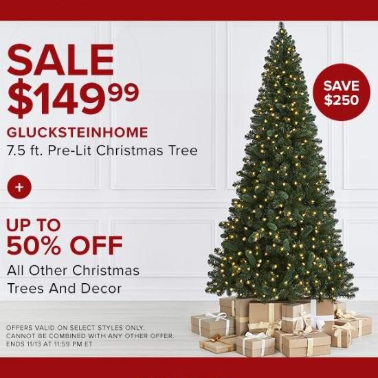 今日闪购:Glucksteinhome 7.5英寸高品质预装彩灯圣诞树3.7折 149.99加元包邮!