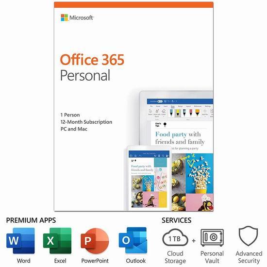 Microsoft Office 365 Personal 个人版1年订阅4.9折 38.99加元包邮!送1TB OneDrive云储存空间!
