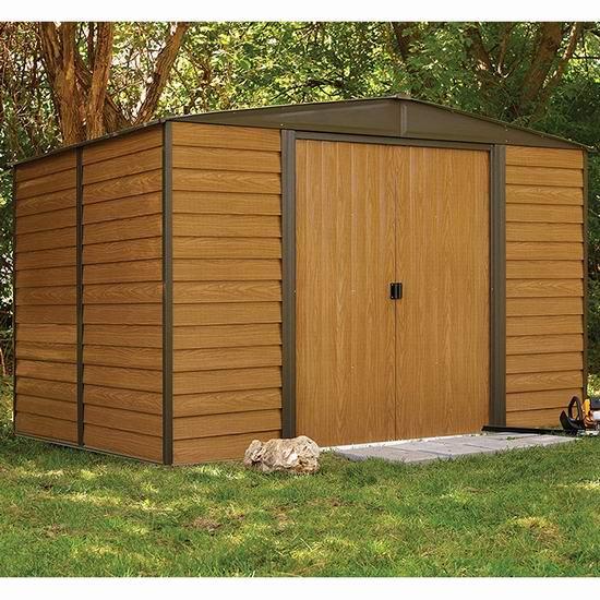 逆季清仓!历史新低!Arrow Shed WR108 Woodridge EG 10x8英尺钢制庭院储物棚屋3.8折 349.5加元包邮!