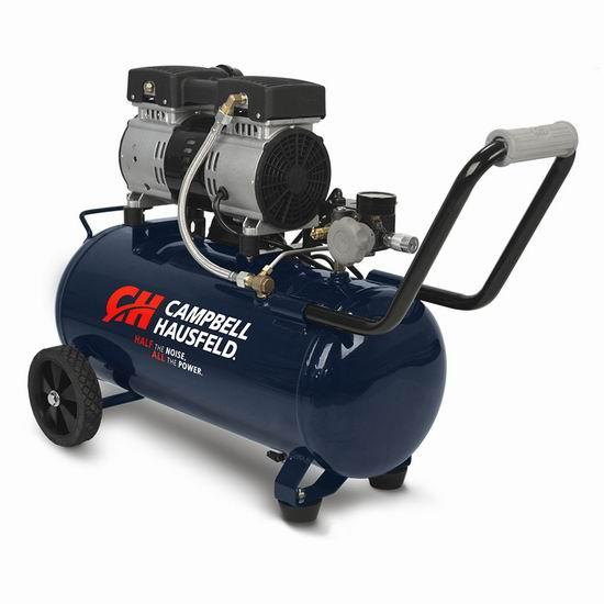历史新低!Campbell Hausfeld DC080500 8加仑 超静音 无油 空气压缩机6.2折 253.6加元包邮!