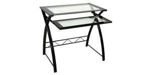 BellO CD8855 - Easy No Tool Computer Desk时尚钢化玻璃电脑桌