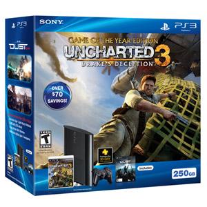 翻新PS3™ 250GB UNCHARTED 3: DRAKE'S DECEPTION GAME OF THE YEAR游戏机