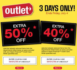 Sears outlet指定类别产品全面5折或6折,本周五截止
